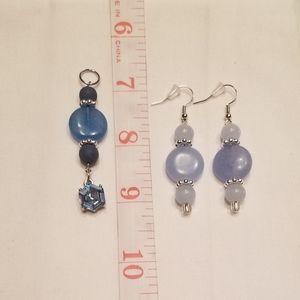 💙 Fun blue earring and pendant set